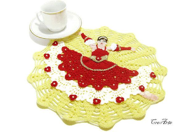 Crochet Doily with Spanish Dancer Original by CreArtebyPatty