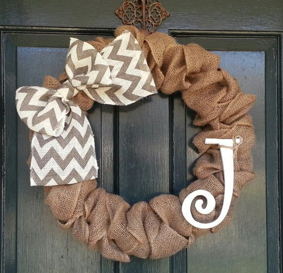 Burlap Wreath with Gray Chevron Burlap Bow- Front Door Wreath- Monogram Wreath-Wedding Decoration- Wedding Gift-