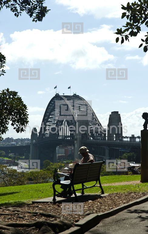 Person Sitting Reading Bench Seat Harbour Bridge Observatory Hill Copyspace Stock Footage | Royalty-Free Stock Photo Library | 10343140