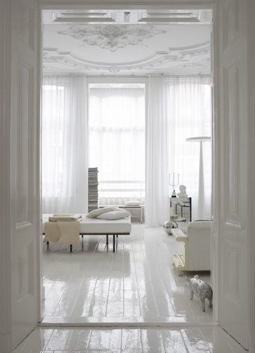 Glossy white floors.  This might hold up well with animals, fur wouldn't show up so much. Love the look, like living in a cloud. Want to try this, maybe on next house that doesn't have the most gorgeous wooden original floors.