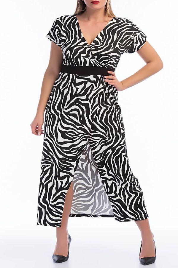 فستان ليكرا مزخرف بستايل زيبرا مقاس كبير Wrap Dress Fashion Dresses
