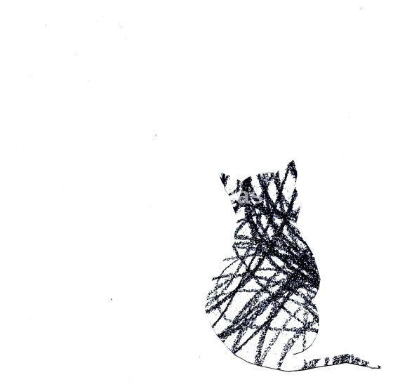 Abstract Pencil Minimalist Drawing Art Print  Tabby by ARTseas, $15.00