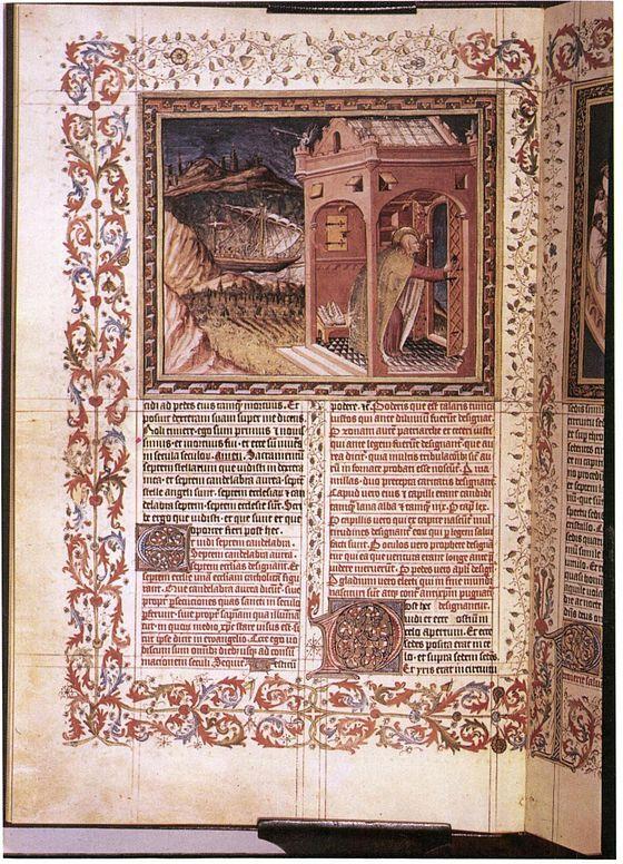 Apocalypse figurée des ducs de Savoie - Escorial - f3v (saint Jean) Commandé par Amédée VIII de Savoie en 1428. Il fait pour cela appel à son peintre attitré, Jean Bapteur qui s'adjoint la collaboration d'un autre peintre, Peronet Lamy, à partir de 1433.
