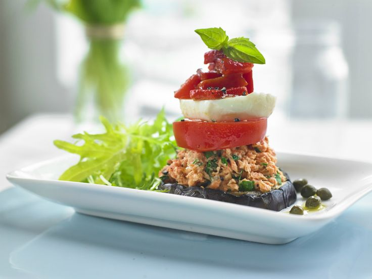 Make Life Easy with this Salmon and Grilled Vegetable Stack recipe! LIKE us at https://www.facebook.com/goldseal #PinToWin #NoDrainer #MakeLifeEasy
