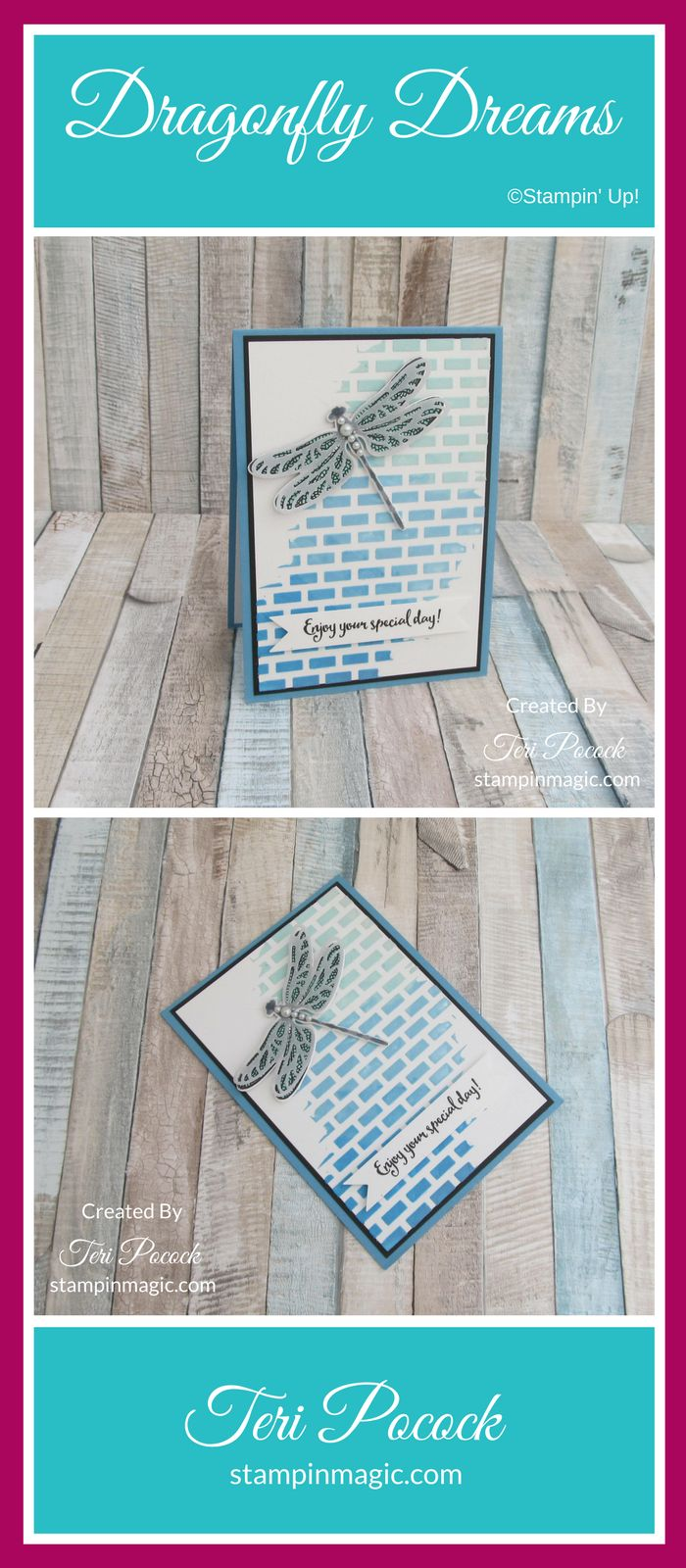 Dragonfly Dreams by Stampin Up. Created by UK Independent Demonstrator Teri Pocock. Click through for more details.#teripocock #stampinup #stampinupuk #dragonflydreams #embossingpaste
