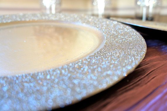 13 inches Acrylic Glitter Charger Plates Glitter around the rim of the plates Perfect for table settings. It completes the table! Great for weddings, special events, or household table settings. We do special orders and bulk orders. Please inquire about our bulk and special order prices.