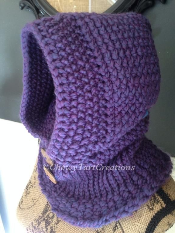 (6) Name: 'Knitting : Adult Cozy hooded Cowl Loom pattern