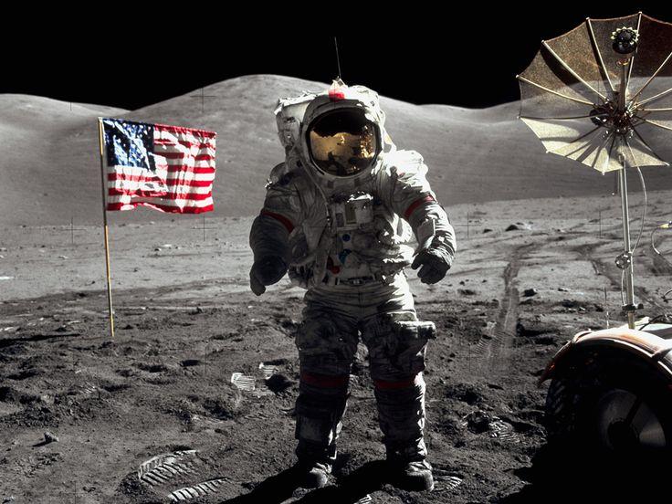 Harrison H. Schmit :: The last men on the Moon :: Astronaut Eugene Cernan walks toward the Lunar Roving Vehicle near the landing site of Apollo 17 in the Taurus-Littrow lunar valley, 19 Dec. 1972