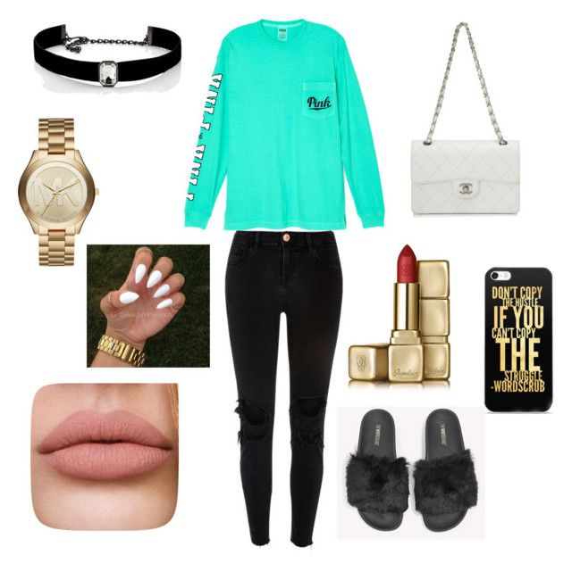 """""""Mya💋"""" by aleenadolphins2004 ❤ liked on Polyvore featuring Victoria's Secret, River Island, The White Brand, Chanel, Kenneth Jay Lane, Michael Kors and Guerlain"""