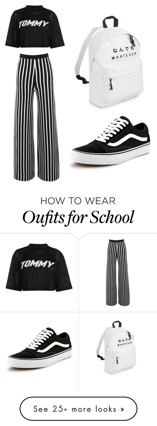 """""""Black & White"""" by laura-michelle-sauer on Polyvore featuring Tommy Hilfiger and Vans"""