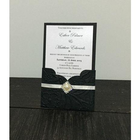 Black Embossed Pocket and Pearl Cluster Invitation www.momentsinlife.net.au