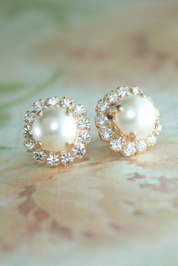 Ivory pearl earrings | cream pearl stud earrings | halo pearl earrings | ivory wedding | cream wedding | www.endorajewellery.etsy.com