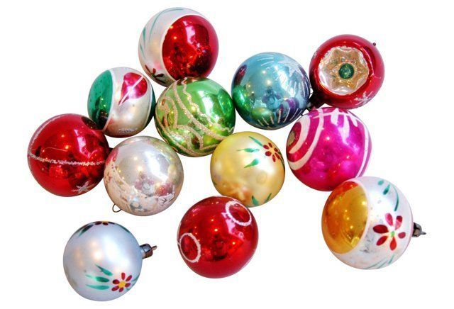 Midcentury Christmas    Ornaments, S/12