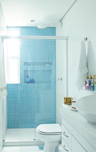 17 melhores ideias sobre Azulejos Azuis no Pinterest  Azulejos geométricas,  -> Banheiro Pequeno Masculino