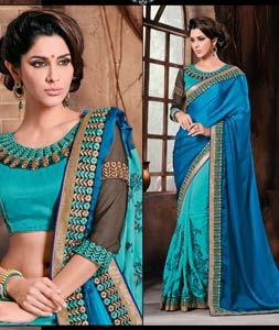 Buy Blue Satin Half and Half Saree With Blouse 69901 with blouse online at lowest price from vast collection of sarees at Indianclothstore.com.