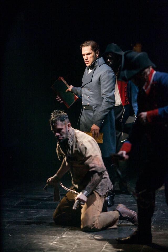 Ramin Karimloo as Jean Valjean and Will Swenson as Javert in Les Miserables on Broadway