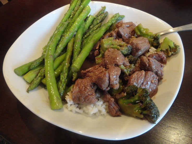Beef and Broccoli Teriyaki over White Rice with Asparagus on the side ...