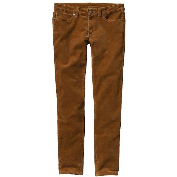 Patagonia Women's Fitted Corduroy Pants ($57) ❤ liked on Polyvore featuring pants, bear brown, zip pants, stretch corduroy pants, flat-front pants, brown trousers and patagonia pants