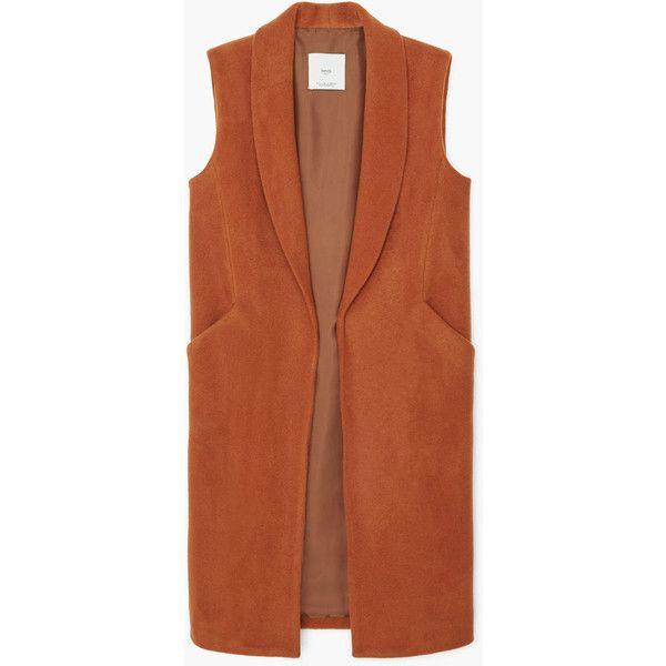 MANGO MANGO Side-Pocket Wool-Blend Waistcoat (405 BRL) ❤ liked on Polyvore featuring outerwear, vests, jackets, brown waistcoat, brown vest, lapel vest and waistcoat vest