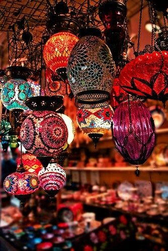 Lanterns in Indian market, Mumbai, India. Interestingly, exactly the same kind is sold in Antalya, Turkey, as well..