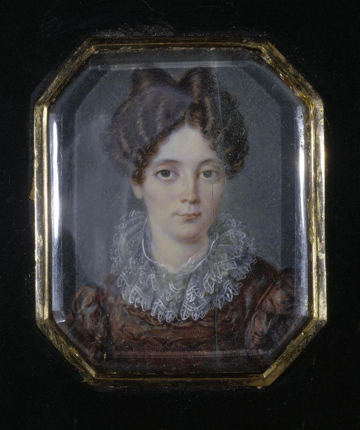 Ванькович, Валенты. 1828 г. 1799-1842  Миниатюра: Портрет молодой дамы в темно-красном платье