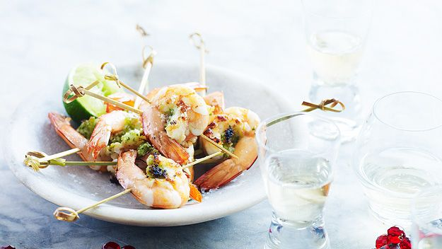 Lemon grass and prawn skewers