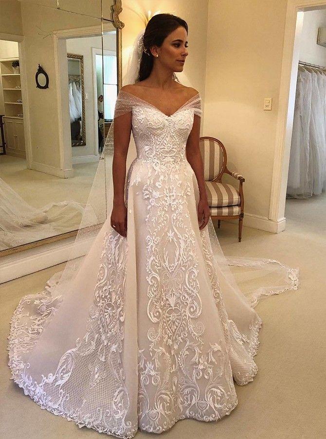 A-line Off-the-Shoulder Wedding Dress with Appliques Watteau Train #watteau train #off shoulder #wedding #weddingideas #brides