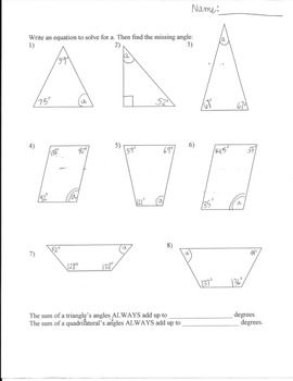 Missing Angles worksheet- Triangles and Quadrilaterals in ...