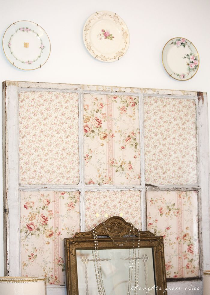 Thoughts from Alice: Cottage Style Window with Shabby Floral Fabrics Inside