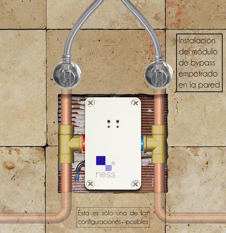 El módulo de bypass NESS instalado en la pared, va acompañado de una tapa embellecedora #NESS #tecnología #instalación #ahorro #agua