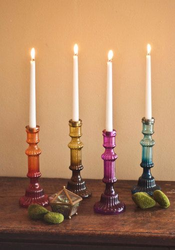 It's Eclectic! Candlestick. The power is out across town, but that wont put a damper on your dinner party! #multi #weddingNaN