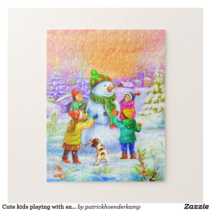Cute kids playing with snowman
