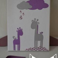 super promo tableau illustration enfant cadre girafe nuage violet parme - Chambre Fille Gris Et Parme