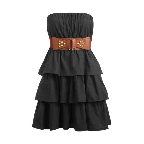 Tiered Belted Tube Dress - Teen Clothing by Wet Seal ($35) ❤ liked on Polyvore