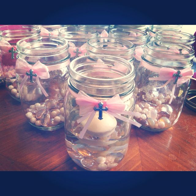Cute, but not in a jar for a little girly. Centerpieces I made for harpers baptism