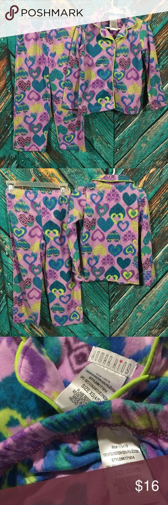 Komar Kids Pajamas Girls XS 4/5 New Komar Kids Pajamas  Girls XS 4/5  New with tags  Long sleeve Button Front Top and long bottoms  100% polyester fleece flame retardant material  Purple with hearts and geometric design Pajamas Pajama Sets