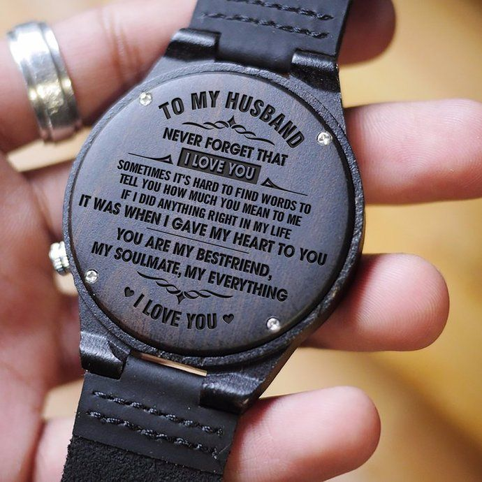 Great Gift For Husband Engraved Wooden Watch