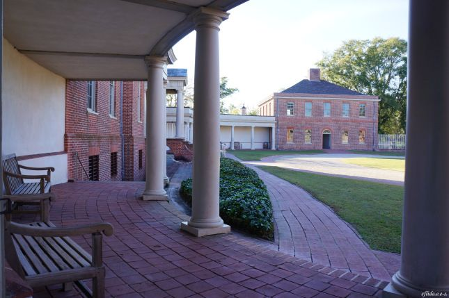 The building to the far right is the Palace's stable, the only original structure that has survived at Tryon Palace in New Bern, North Carolina.