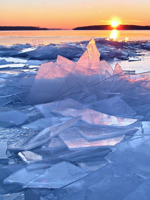 Ice shards on the St. Lawrence River, Ontario, Canada