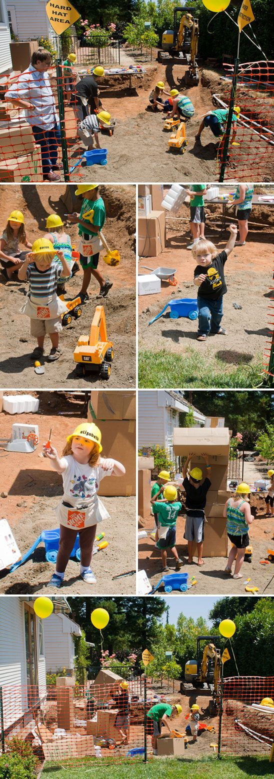 Construction Theme Birthday Party: What do you do when it's time for your little one's 2nd birthday party, but your party space has a big dirt pit... create a fun construction theme birthday party!