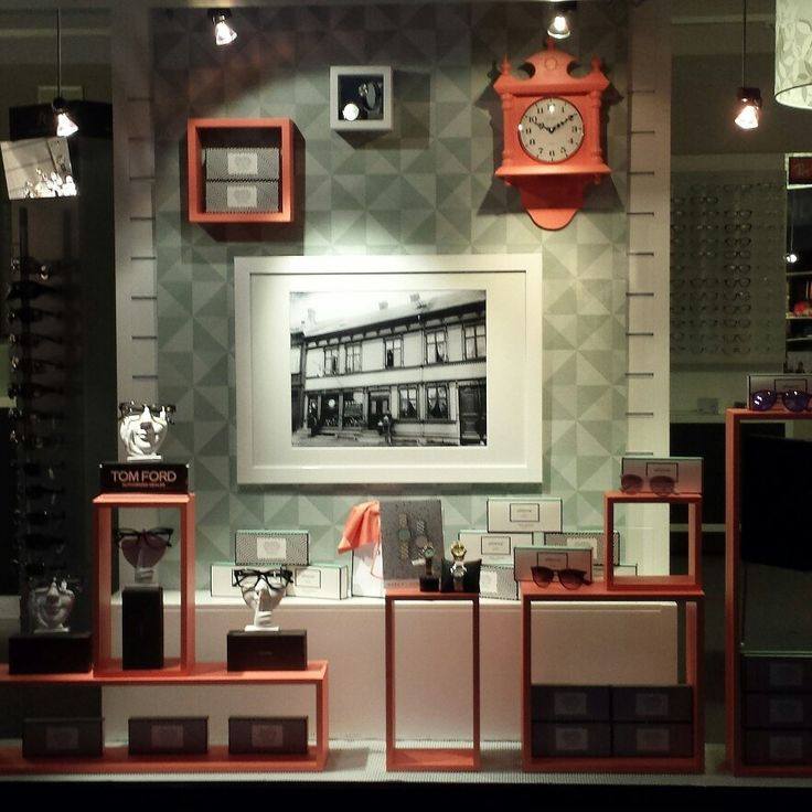 Window display / visual merchandising at Husby Ur & Optikk in Steinkjer, Norway. Vindusutstilling.