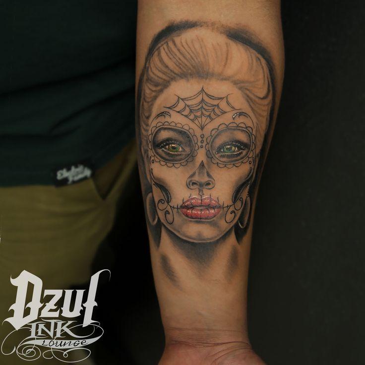 """I don't mind if my skull ends up on a shelf, as long as it has my name on it."" - Debbie Harry. Tattoo by Alex Dzul  #sugar #skull #calavera #dotd #portrait #woman #tattoo #fresh #armtattoo #dzul #dzulinklounge #seattle #belltown #raincity"