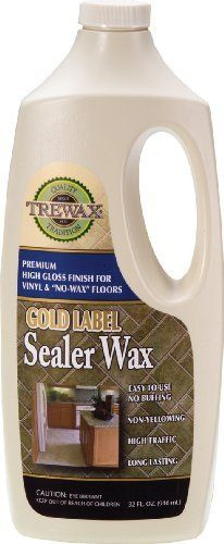 Trewax Vinyl and Linoleum Gold Label Sealer Wax Glass, 32-Ounce by Trewax. Save 2 Off!. $9.76. No buffing required. Acrylic non-yellowing formula. Scuff and stain resistant for vinyl, rubber and linoleum floors. Trewax Vinyl and Linoleum Gold Label Sealer Wax Gloss 32-Ounce restores non wax floors to their original shine. The durable acrylic non-yellowing formula is perfect for high traffice areas. No buffing required.