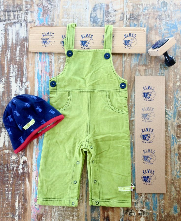 Ready for the cooler month with the colour of the season: moss green organic cotton dungarees and organic cotton/wool reversible hat by German Eco Fashion Label loud+proud.