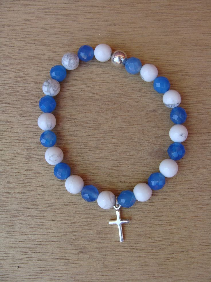 Mykonos : blue agate/white howlite men's bracelet with sterling silver cross pendant www.livioformen.com