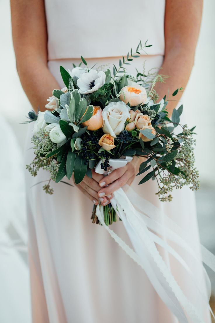 Romantic Fall Wedding Bouquet Peach Roses Seeded Eucalyptus Bay Leaves At