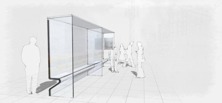 Bus stop sketchy rendering - unrealviz