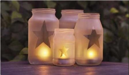Use recycled glass jars to create lanterns ~ I did this last night with spray paint glass fogger and tape!  I did hearts for Valentines Day.