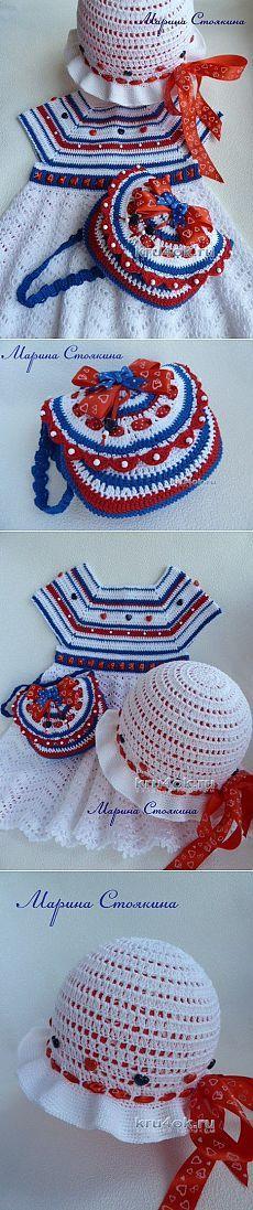 Комплект для девочки «Прогулка у моря» - вязание крючком на kru4ok.ru