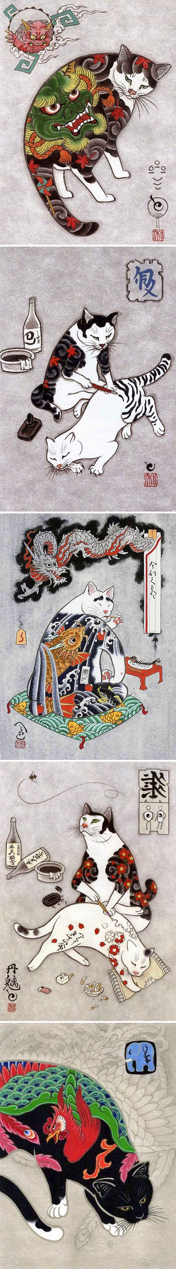 "The Jealous Curator | Cats with tats… I mean, come on! LOVE! Now, that final image features a phoenix, but seeing how 2017 is the ""Year of the Rooster"" I'm going to pretend it's a rooster. Go with it. This is the beautiful, and funny, work of California based tattoo artist Kazuaki Horitomo. I love the cats with their final tats in place, but I have to say those ""tattoos-in-progress"" make me laugh out loud …alone at my computer. So good."